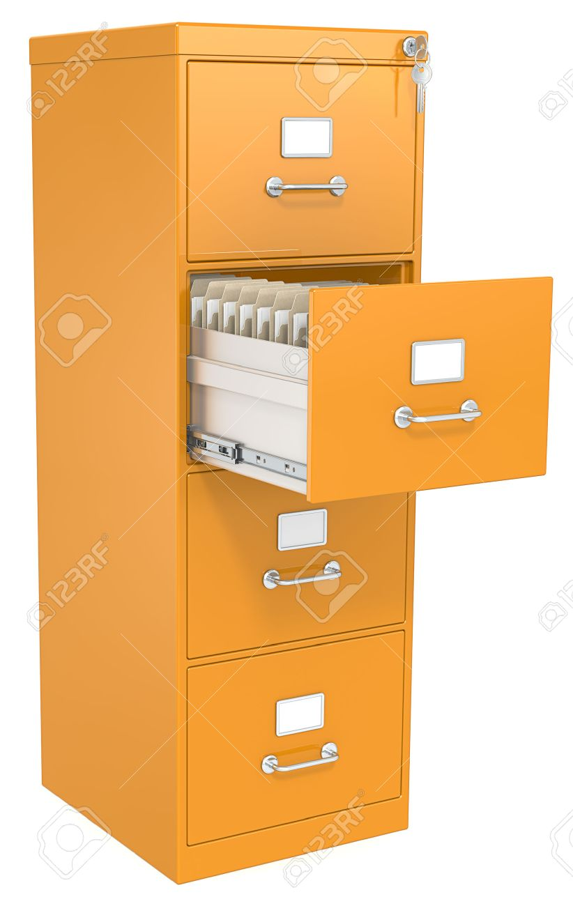 Orange File Cabinet Open Drawer With Files Lock And Key Stock ...