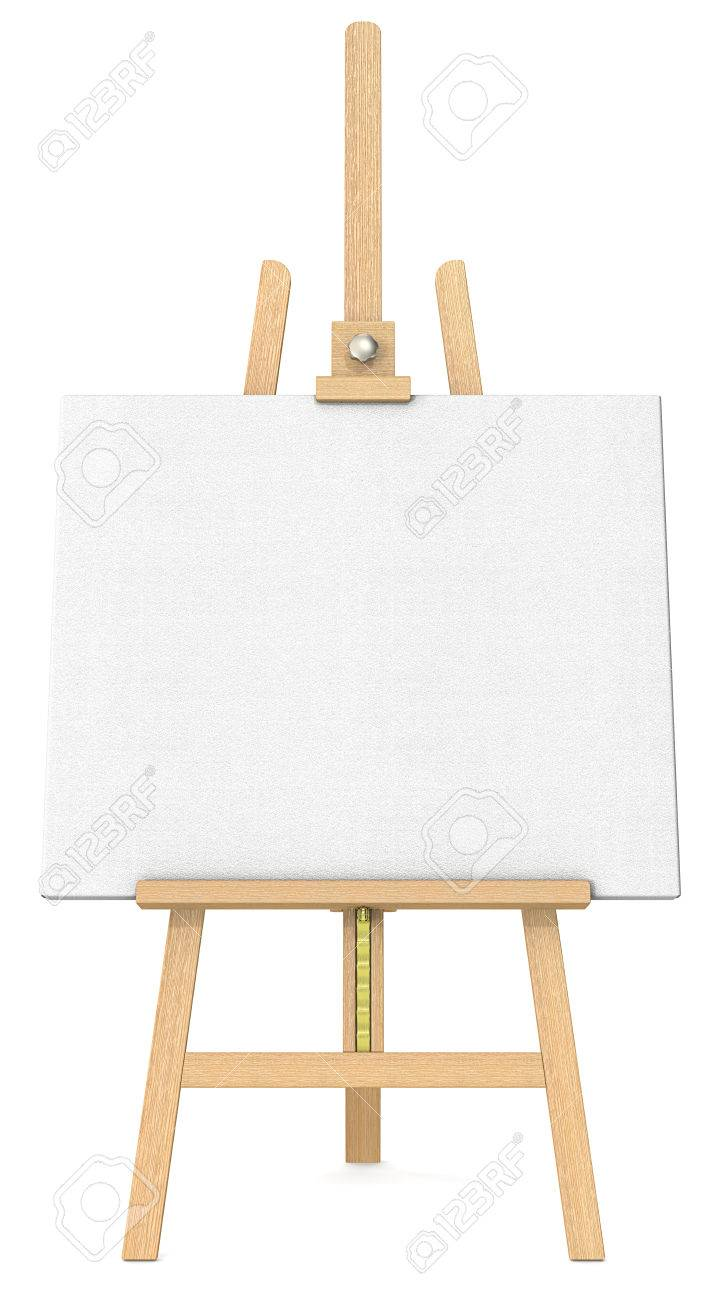 Easel And Canvas Front View Of An Easel And Canvas Stock Photo