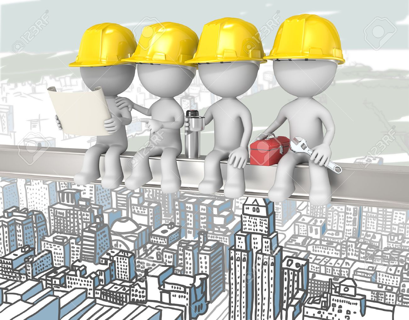 Atop a Skyscraper. Dude the construction workers sitting on a Crossbeam. Cityscape background. - 32615196