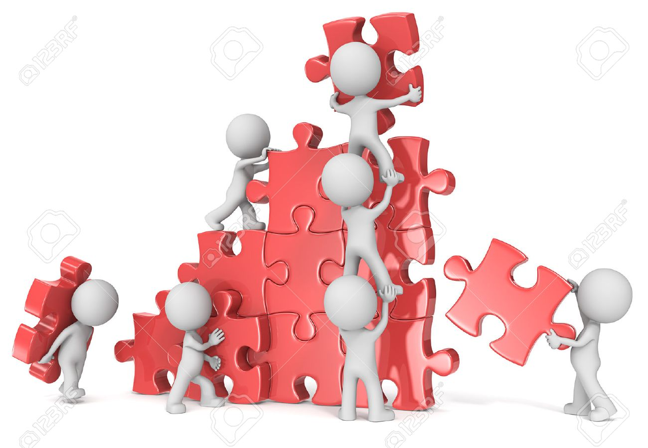 Teamwork. The dude x 7 building large puzzle. Red. - 34769675