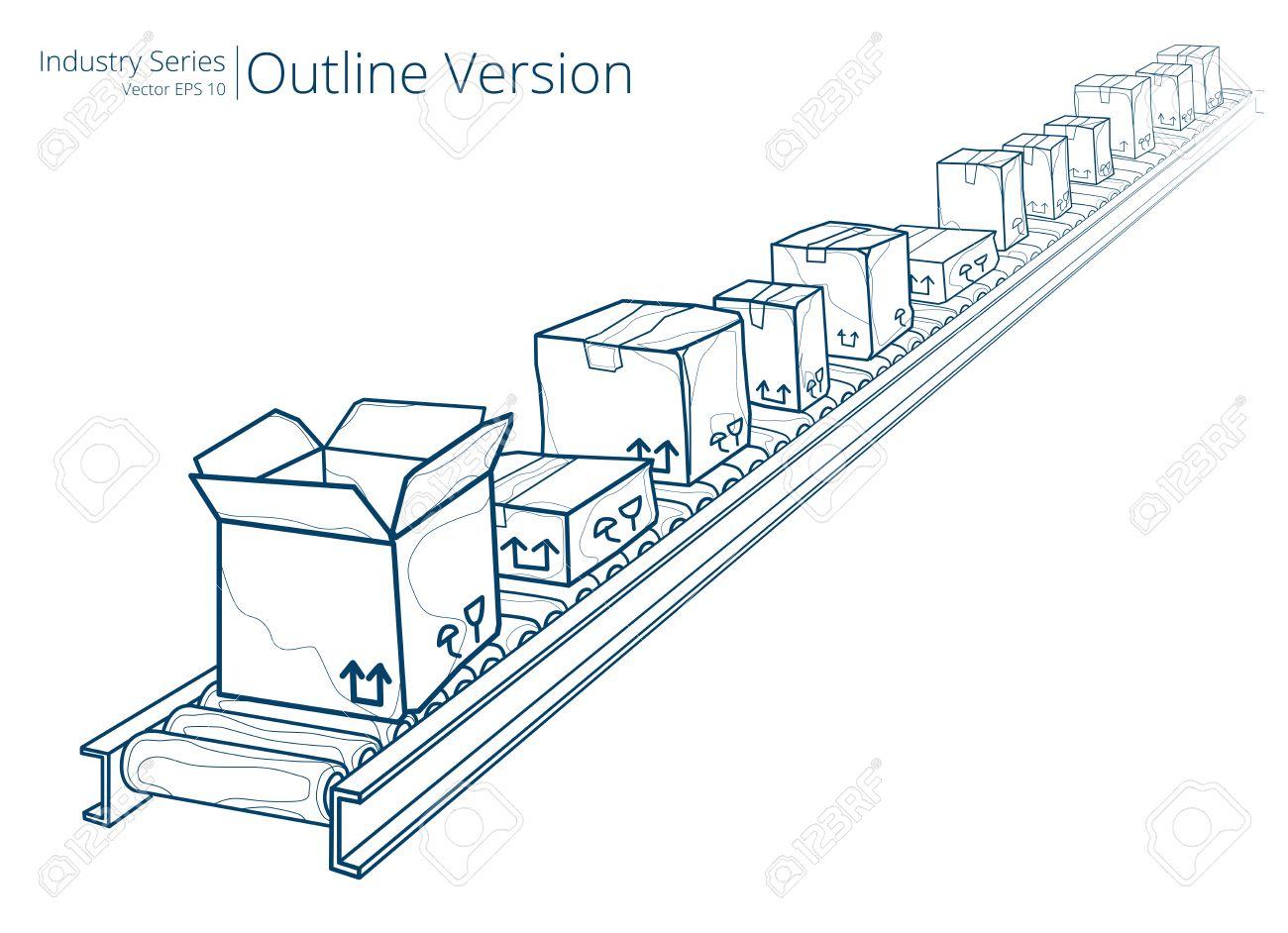 Conveyor Belt. Vector illustration of conveyor belt, Outline Series. - 35111565