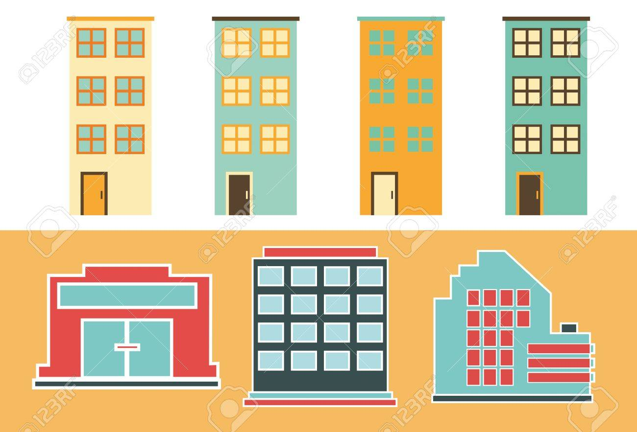 Urban Buildings Flat Icons Of Residential And Office Buildings