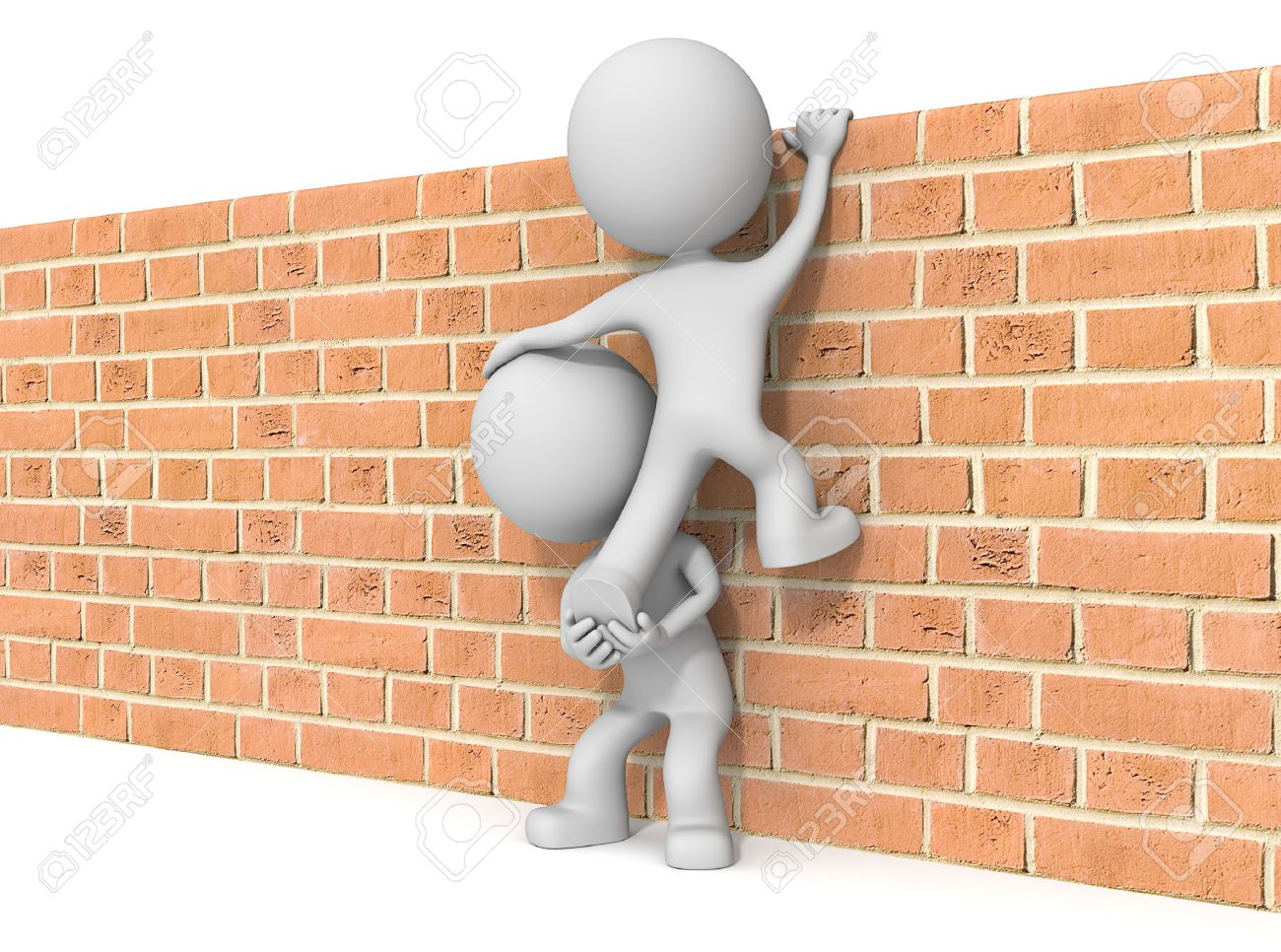 Over the wall. The dude 3D character x2 climbing Brick wall. - 35600889