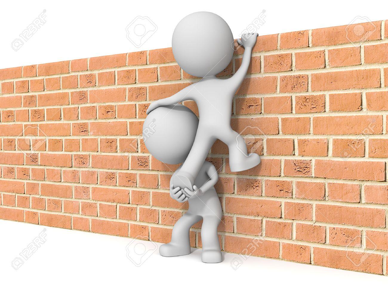 Over the wall. The dude 3D character x2 climbing Brick wall. Standard-Bild - 35600889
