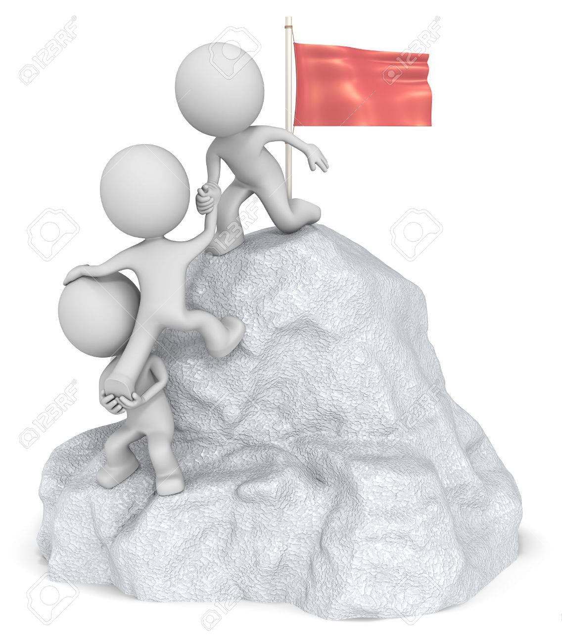 Conquer. The dude 3D character x3 climbing a Mountain with top Flag. Standard-Bild - 35878088