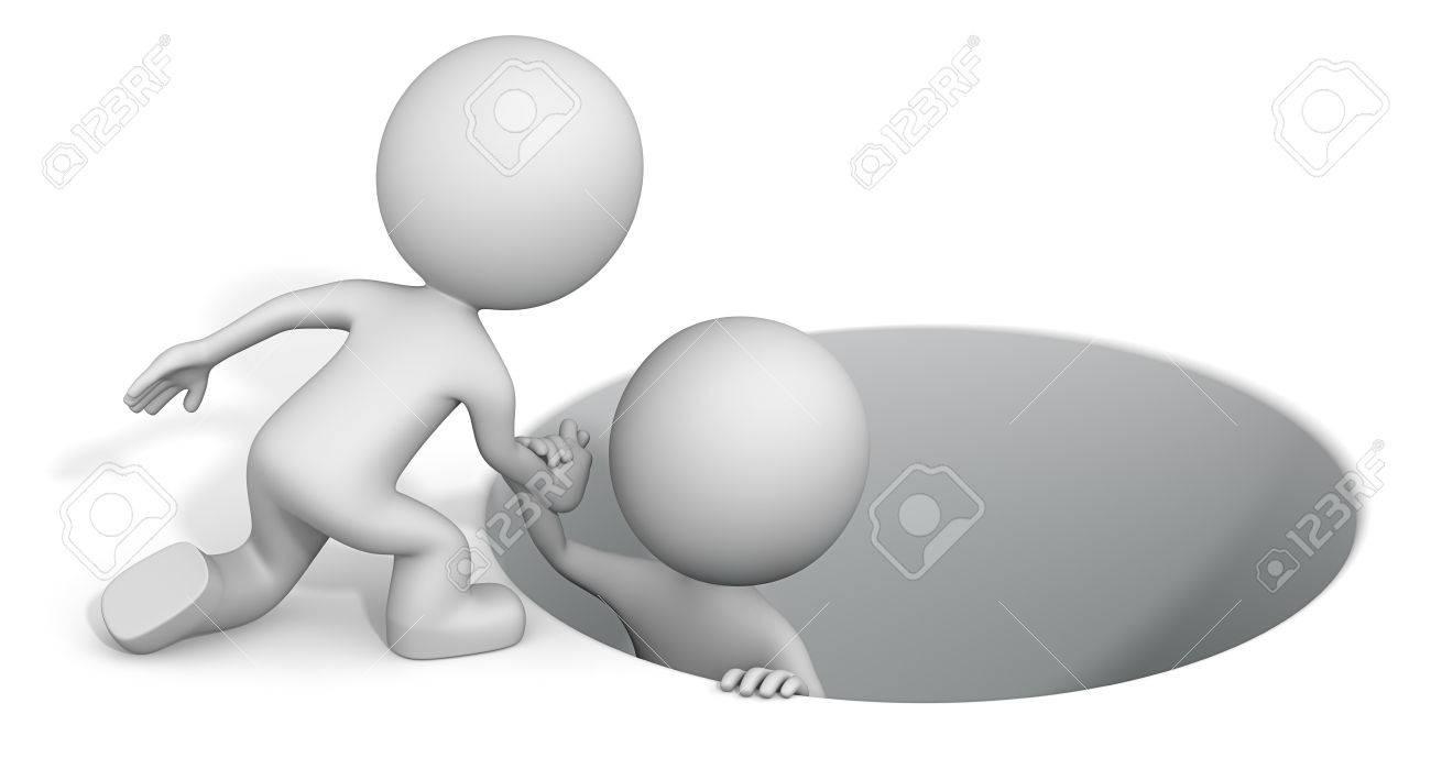 Reaching hand. The dude 3D character helping buddy. Standard-Bild - 35878095
