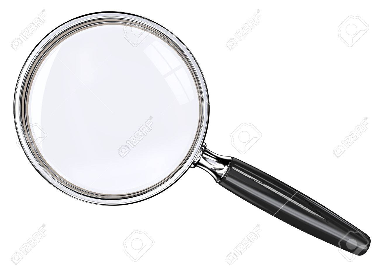 Magnifying Glass. Isolated magnifying glass. Black and metal. - 37467654