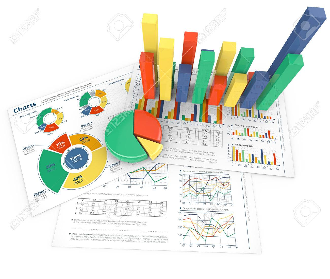 Analyze. Colorful infographics documents with 3D graphs and charts. - 37358333