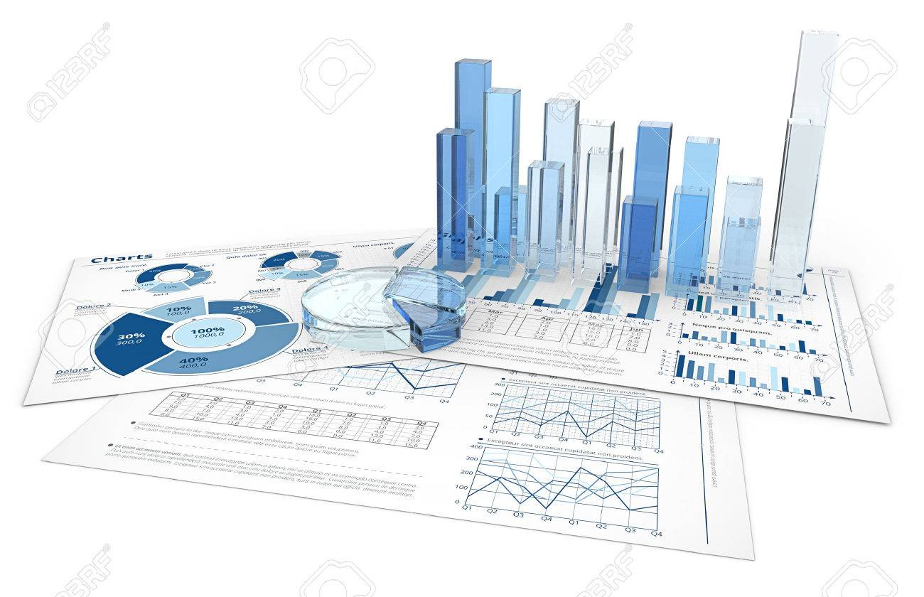Analyze. Blue infographics documents with 3D graphs and charts of glass. Standard-Bild - 37359176