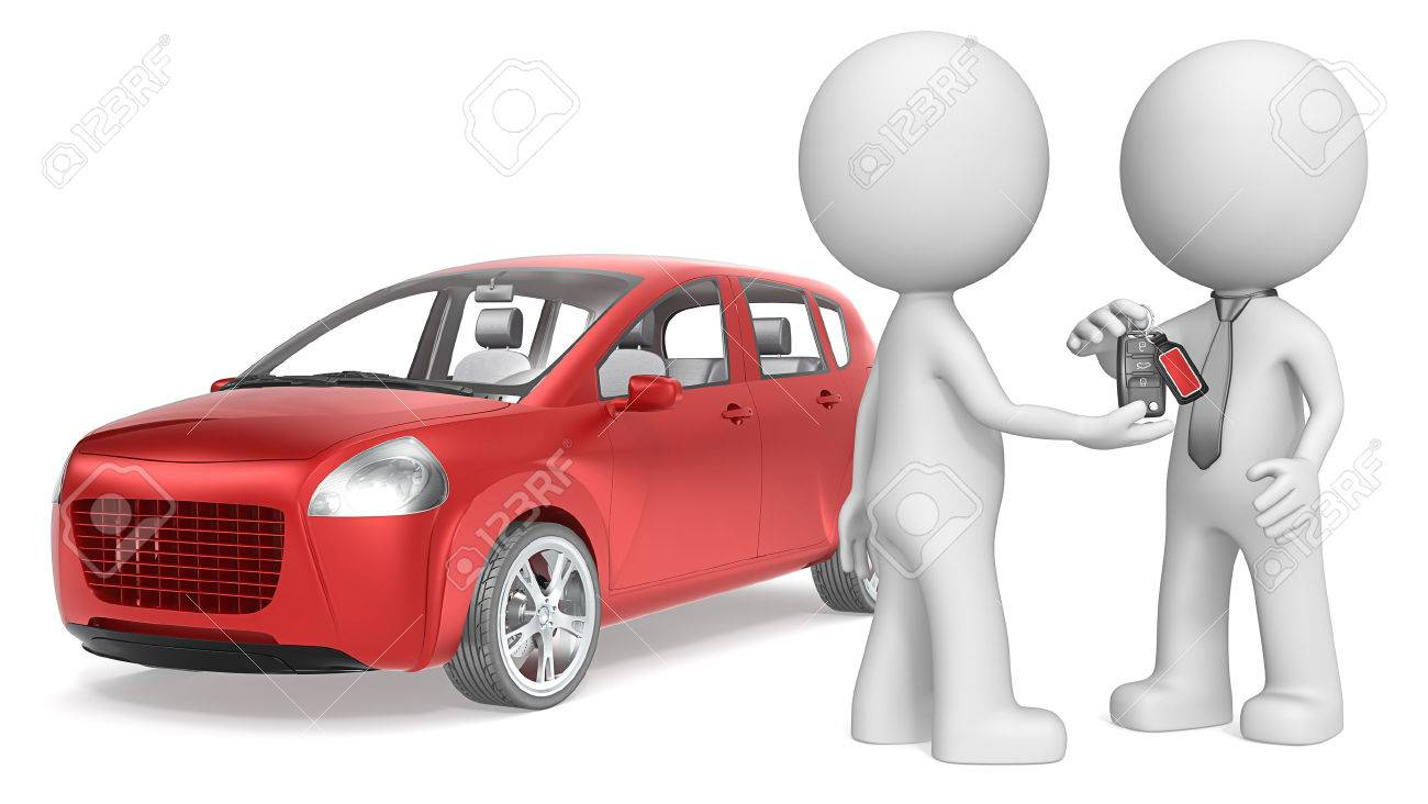 Buy a Car. The dude 3D character getting Keys to Red Car. No Branded. Standard-Bild - 38643325