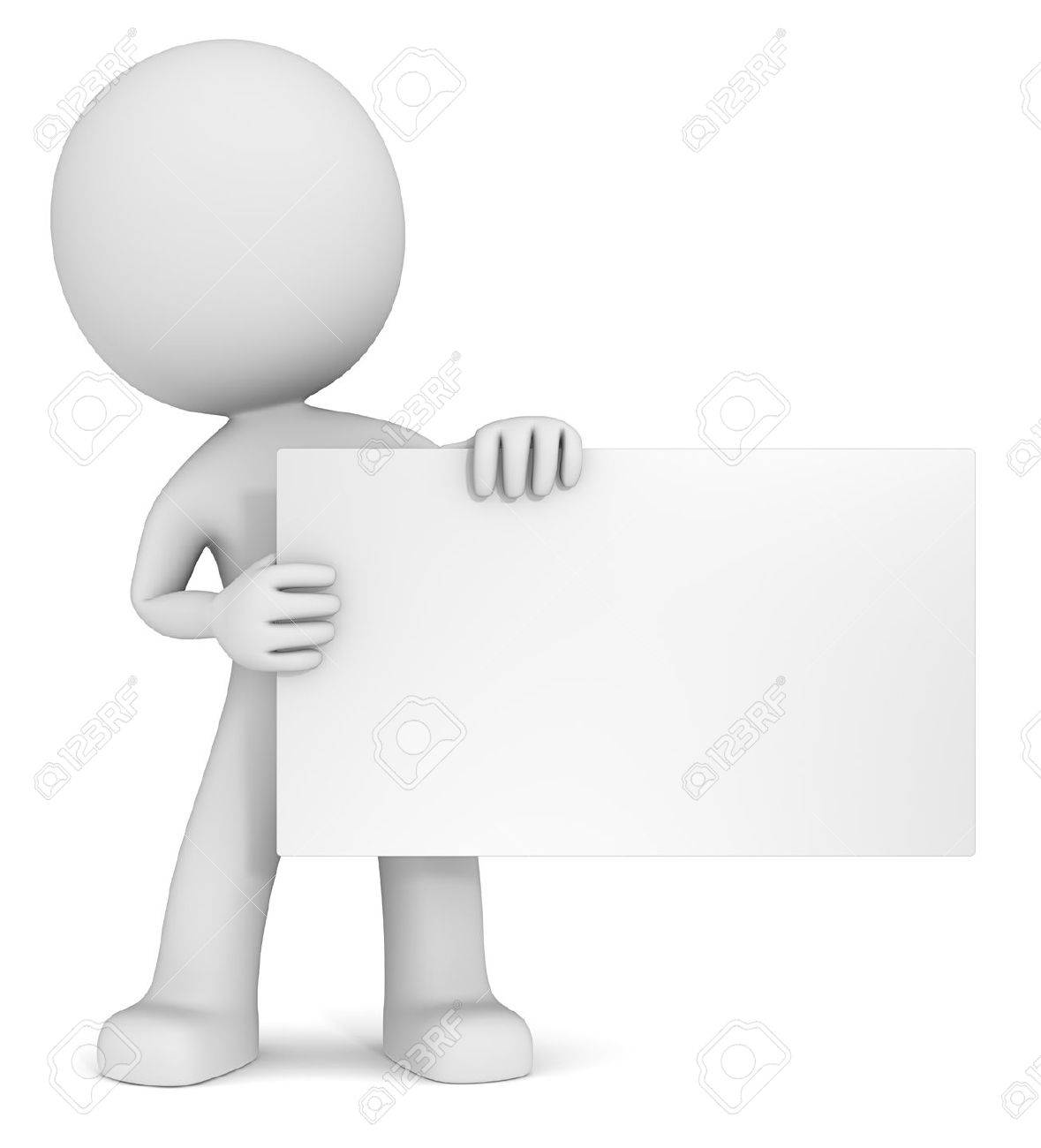 Message. The dude 3D character holdning blank card. White, Copy Space. - 38643501