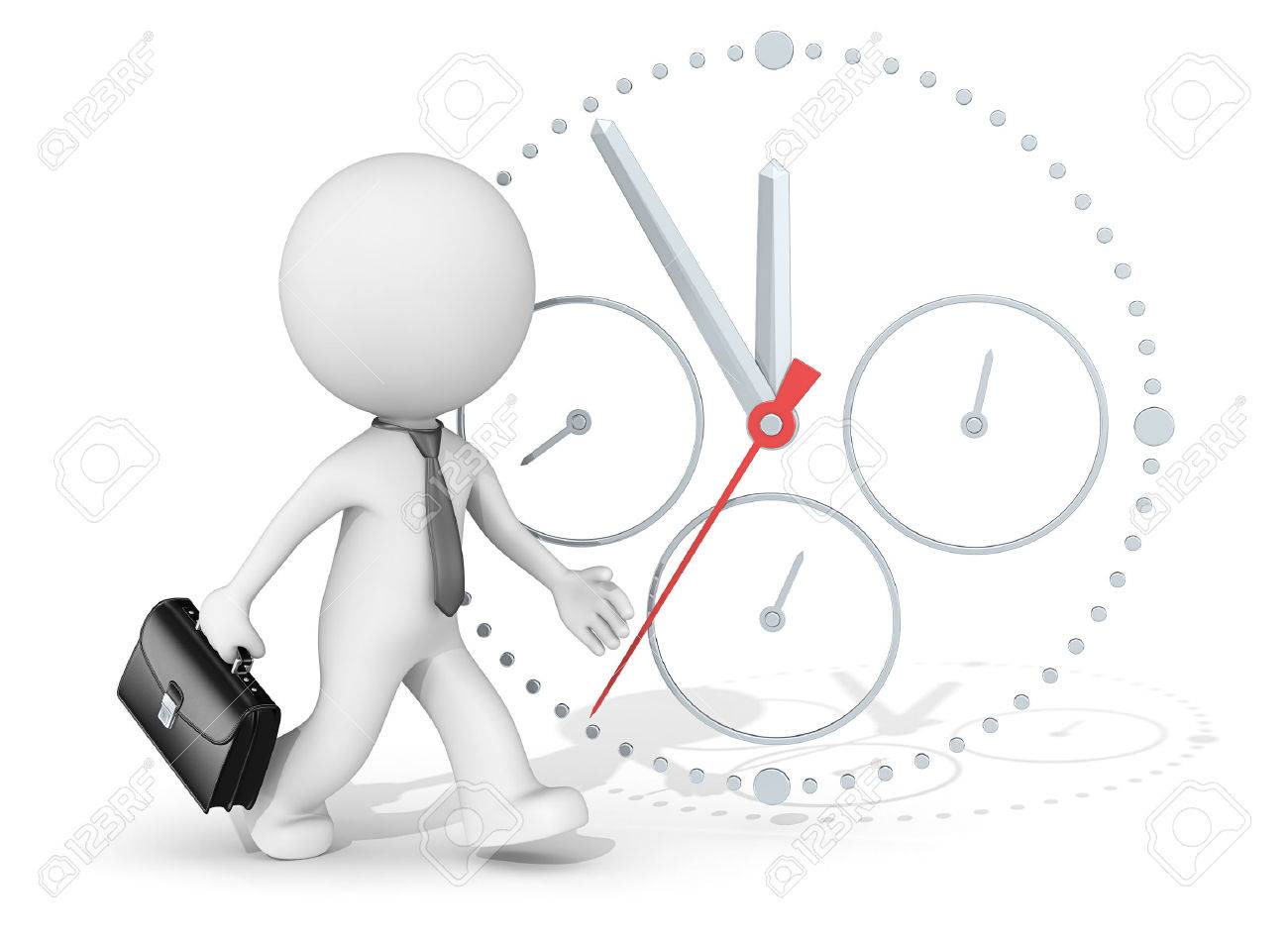 Deadline. The dude 3D character businessman rushing. Clock in background. Standard-Bild - 39033444