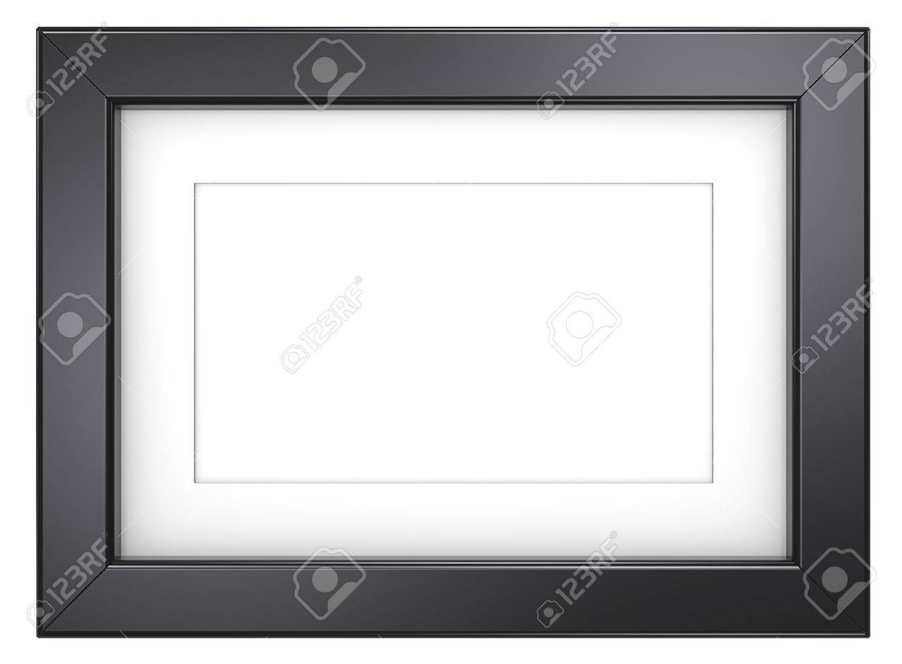 Black picture frame. Picture frame with Passepartout. Black, isolated. - 39033446