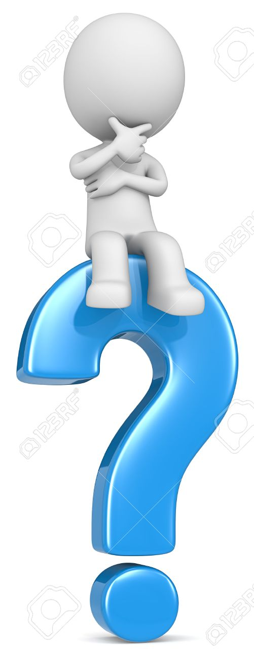 Question. The dude 3D character sitting on blue question mark. Standard-Bild - 39335547