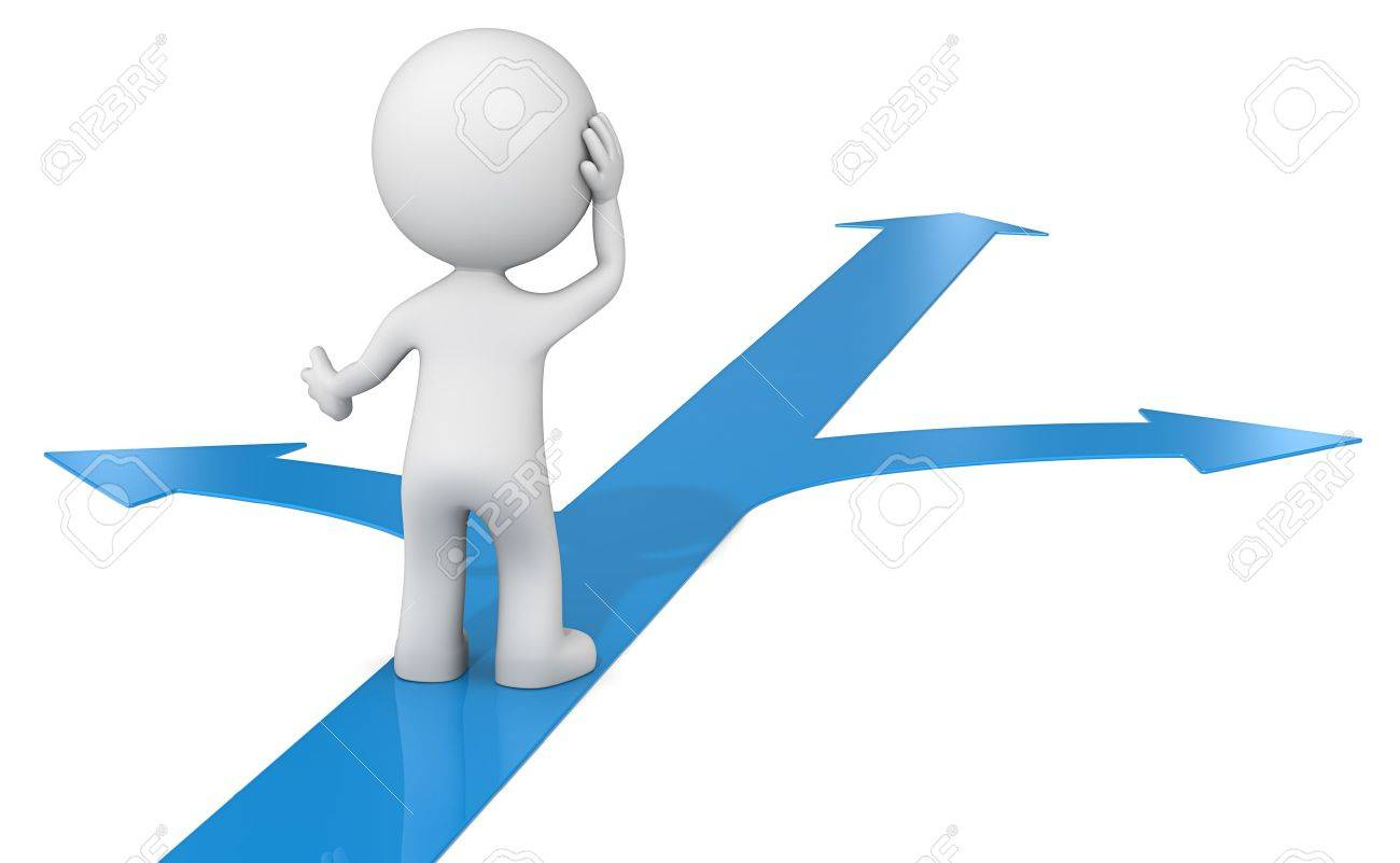Choice. The dude 3D character choosing between 3 blue ways. - 39390971
