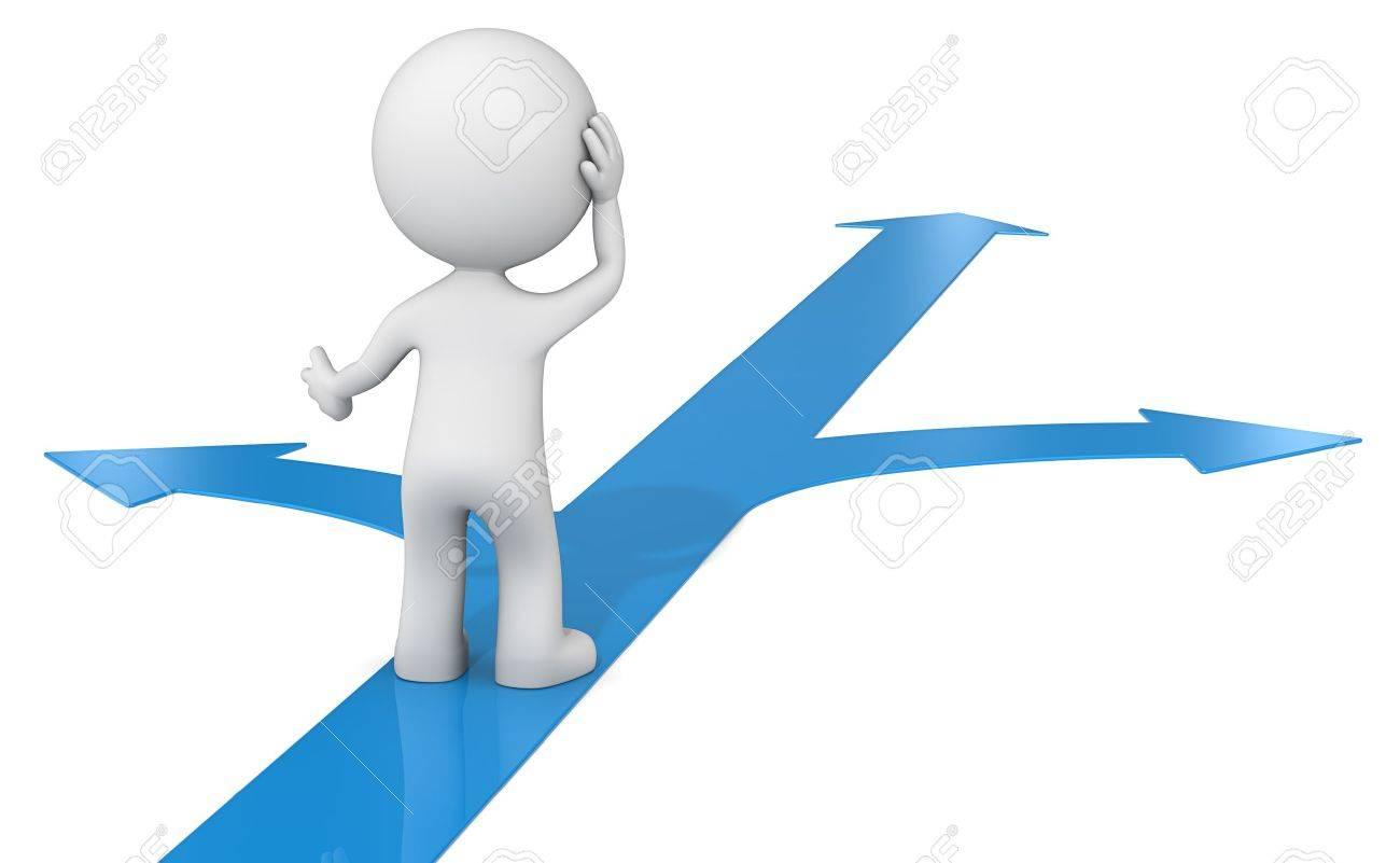 Choice. The dude 3D character choosing between 3 blue ways. Standard-Bild - 39390971