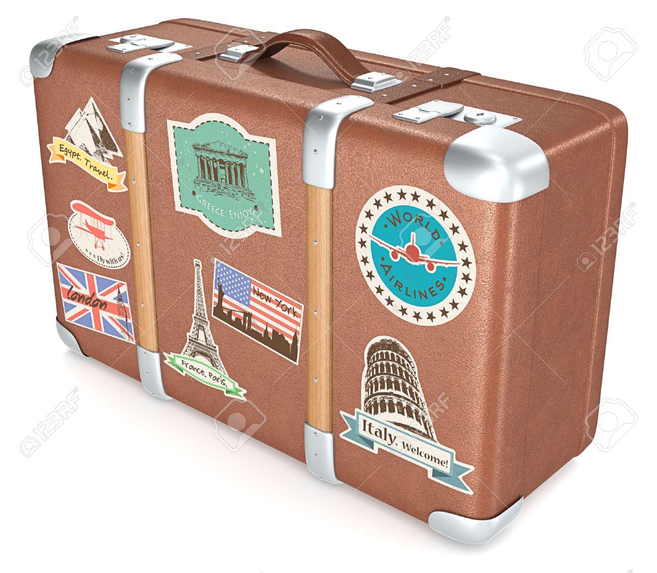 Vintage Suitcase. Leather suitcase with retro travel stickers. Standard-Bild - 39986657