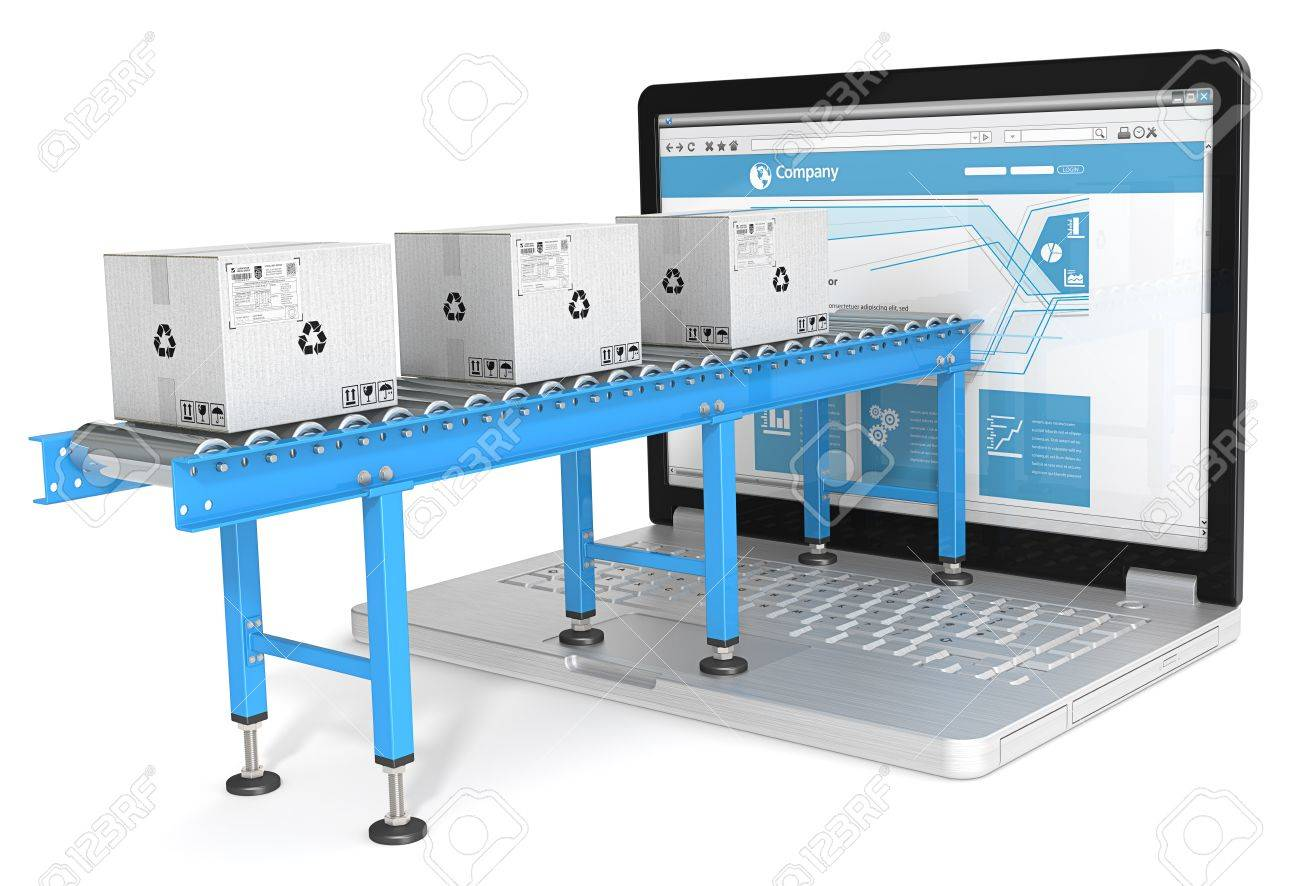 Online distribution. Industrial Conveyor with cardboard Boxes connected to Laptop Screen. Blue theme. Standard-Bild - 40398201