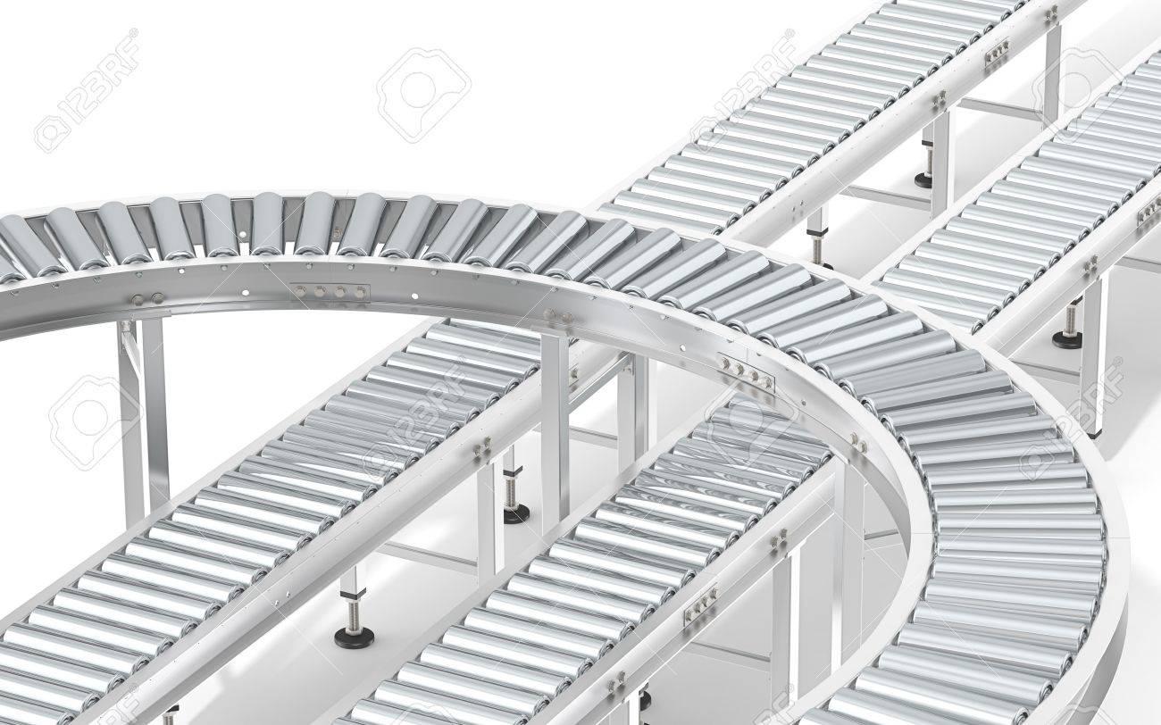 Metal Roller Conveyor System. Industrial Roller Conveyor System. Abstract assembly of steel conveyors in various directions. Standard-Bild - 40971877