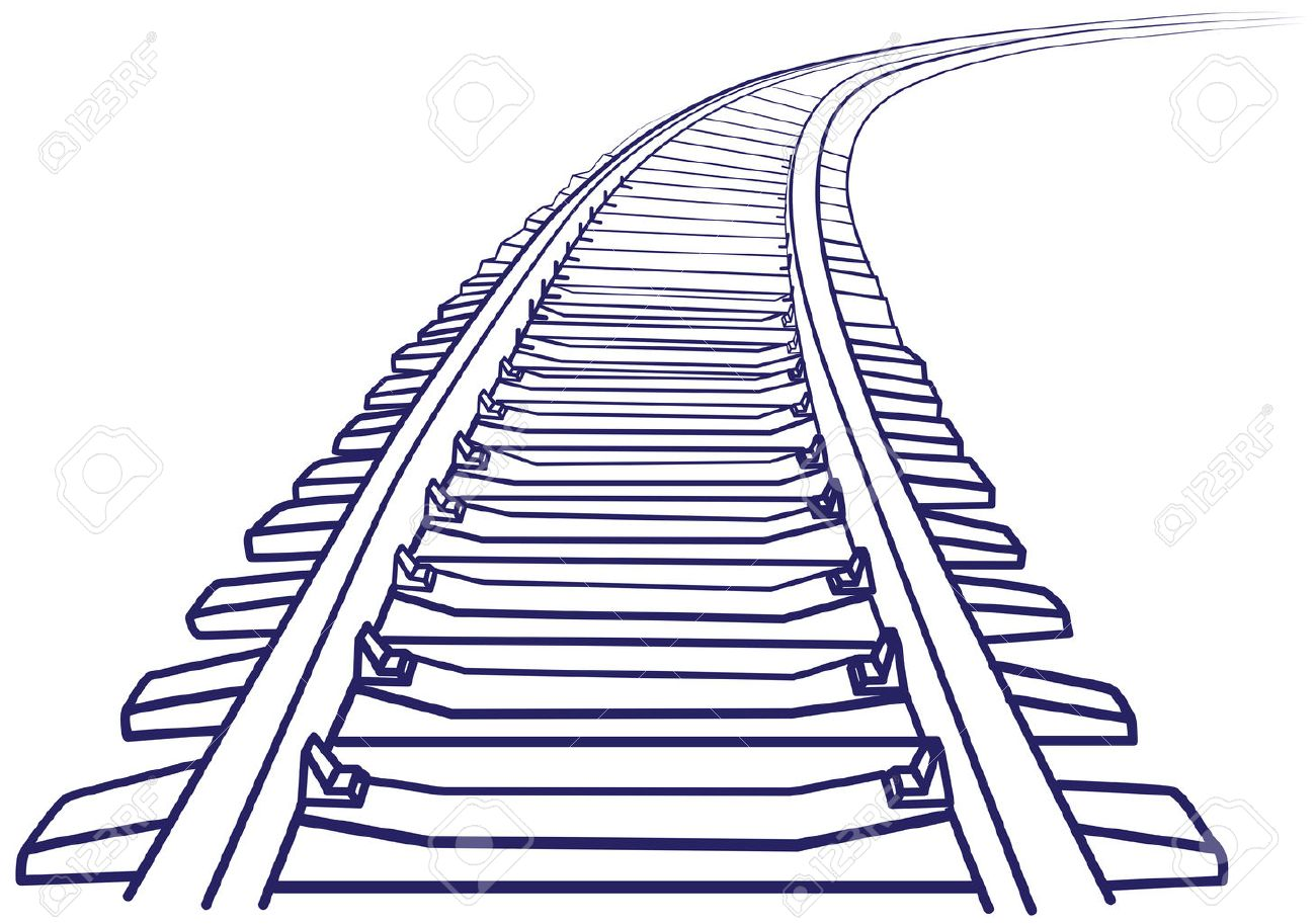Curved endless Train track. Sketch of Curved Train track. Outlines. Standard-Bild - 41638051