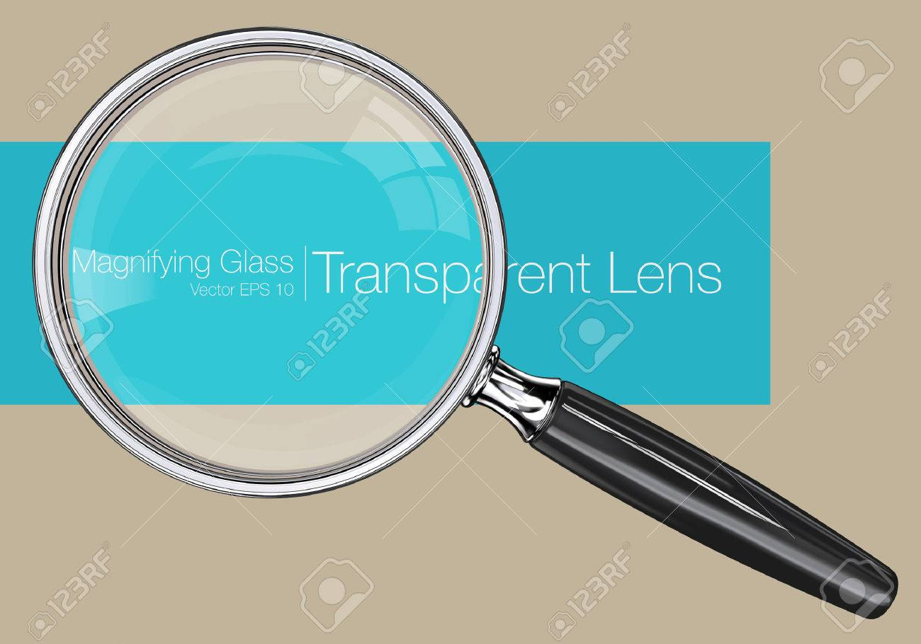 Magnifying glass.  Photo realistic Vector magnifying glass. Transparent Lens. Standard-Bild - 43583422