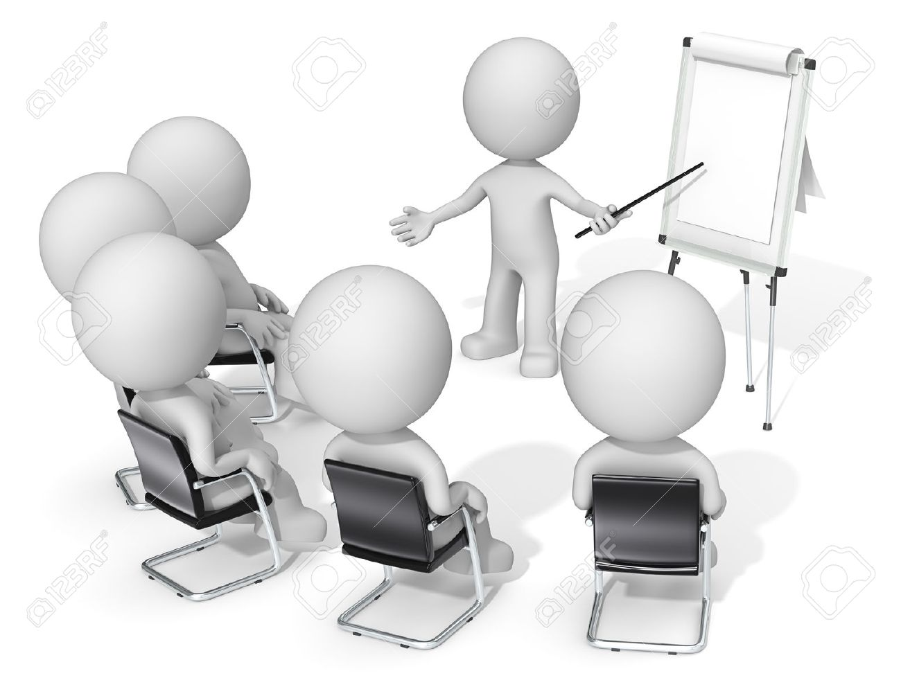 Workshop. Dude the Business people X 6 at meeting. Looking at blank flip chart. Copy space. - 43766415