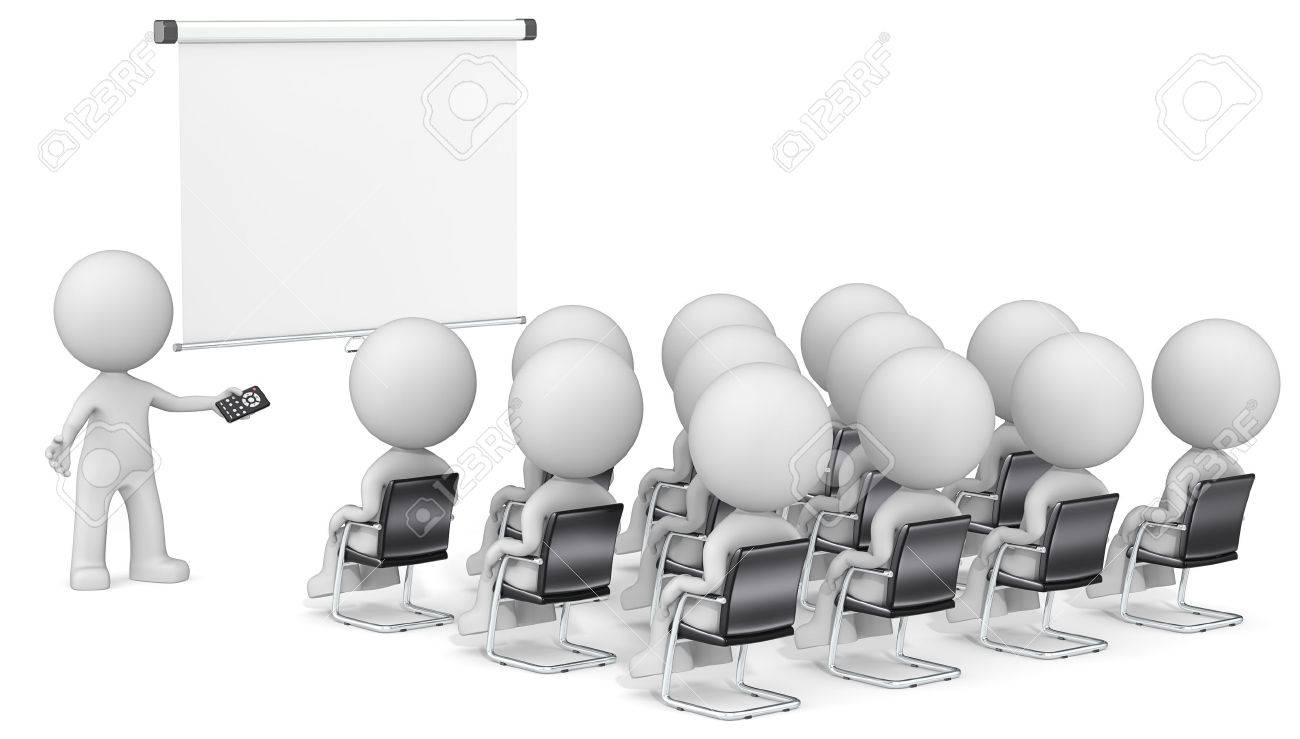 Speaker and Audience. Dude the Business people X 13 at seminar. Looking at blank projector screen. Copy space. Standard-Bild - 43766419