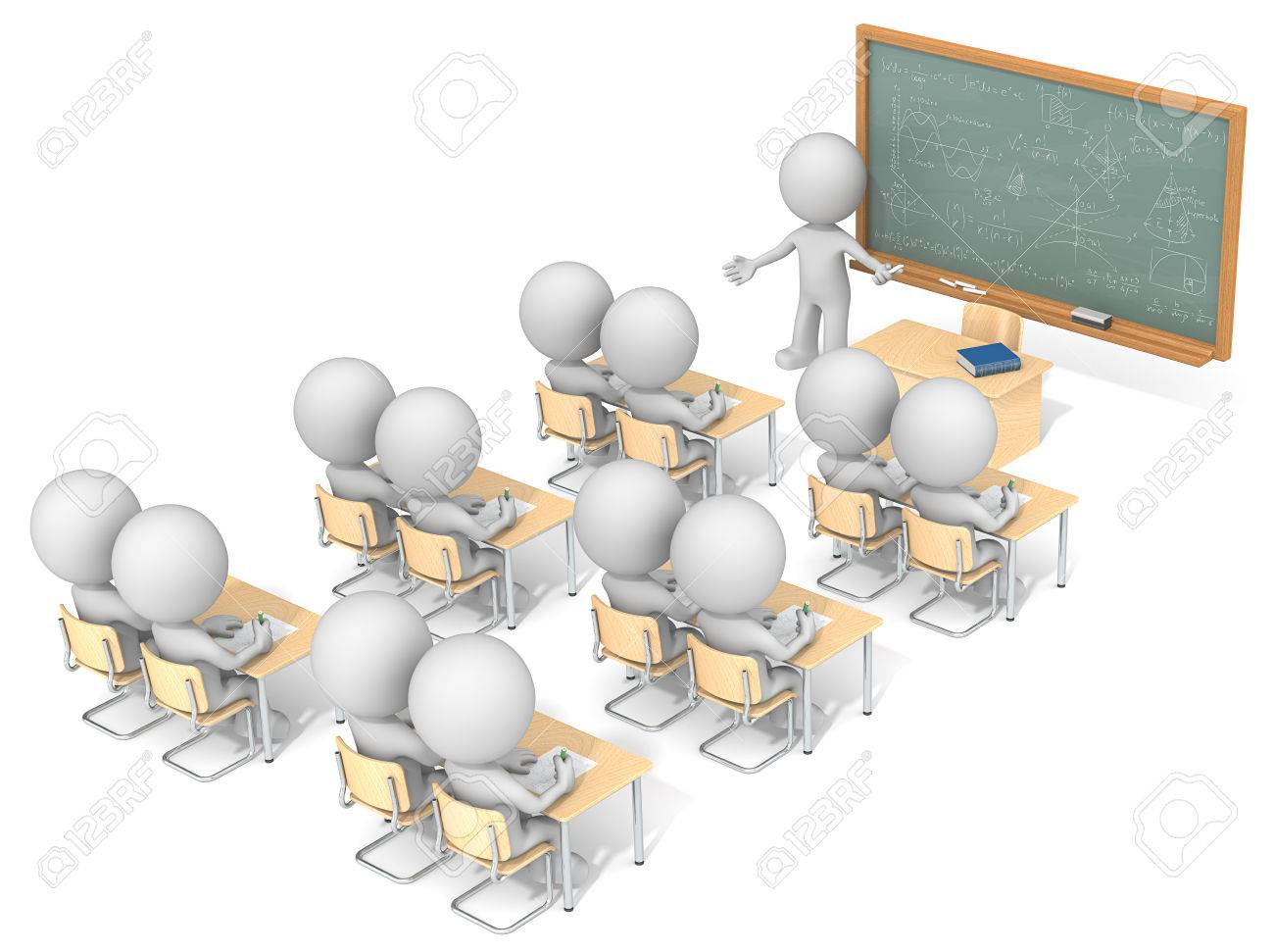 Classroom. Dude 3D characters X13 in classroom. Chalkboard with sample Mathematics. Top, side view. Standard-Bild - 43843549