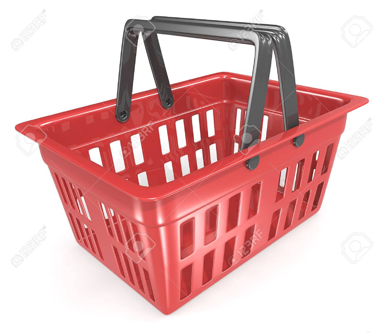 Shopping Basket. Empty Red Shopping Basket. Standard-Bild - 45761499