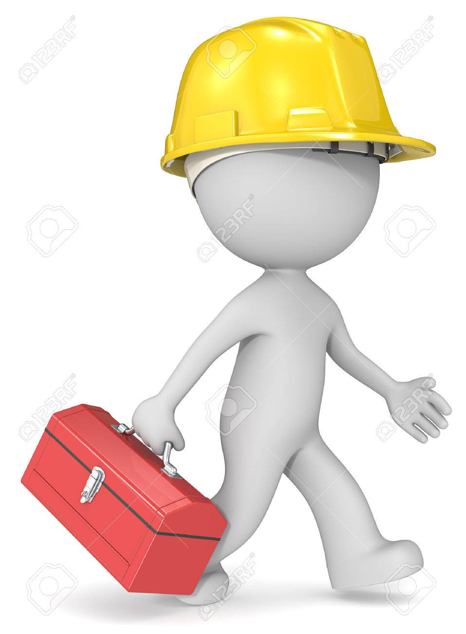 Repairman. Dude 3D character the builder with toolbox and hardhat. Standard-Bild - 46176017