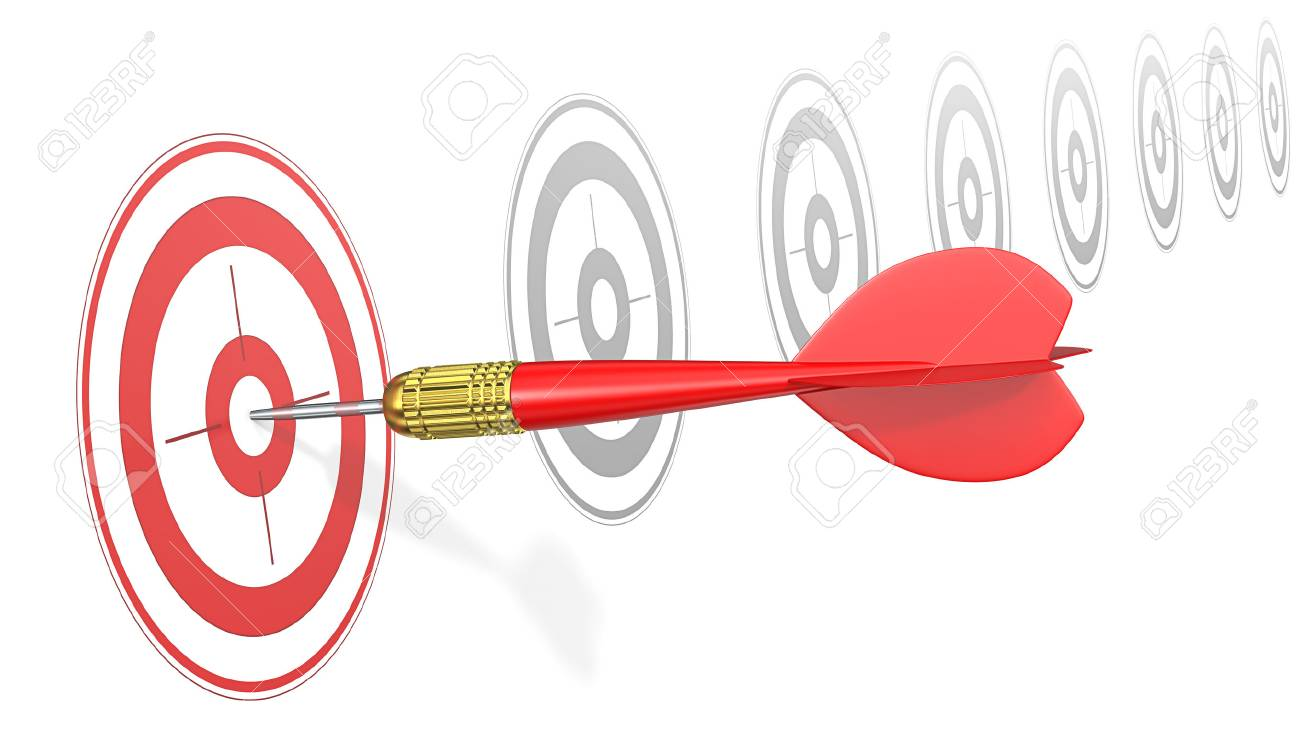 Hitting Target. Red Dart Arrow hitting center of red target. Angle view. - 47282094