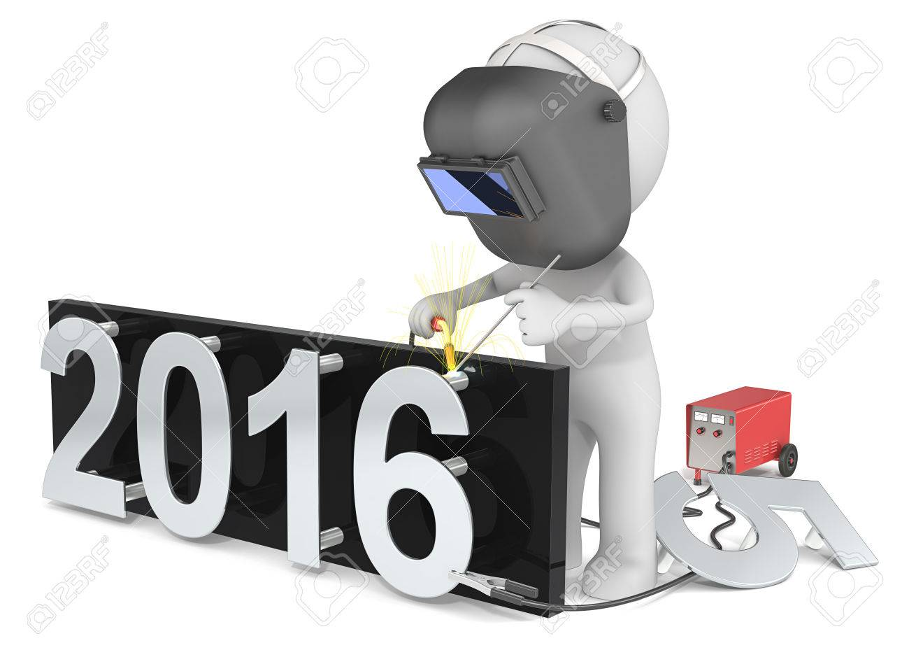 Happy New Year. Dude 3D character The Welder changing number on New Year from 2015 to 2016. Standard-Bild - 48326222