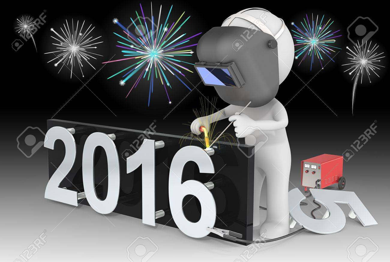 Fireworks and Happy New Year. Dude 3D character The Welder changing number on New Year from 2015 to 2016.  Fireworks on black sky. Standard-Bild - 49106487