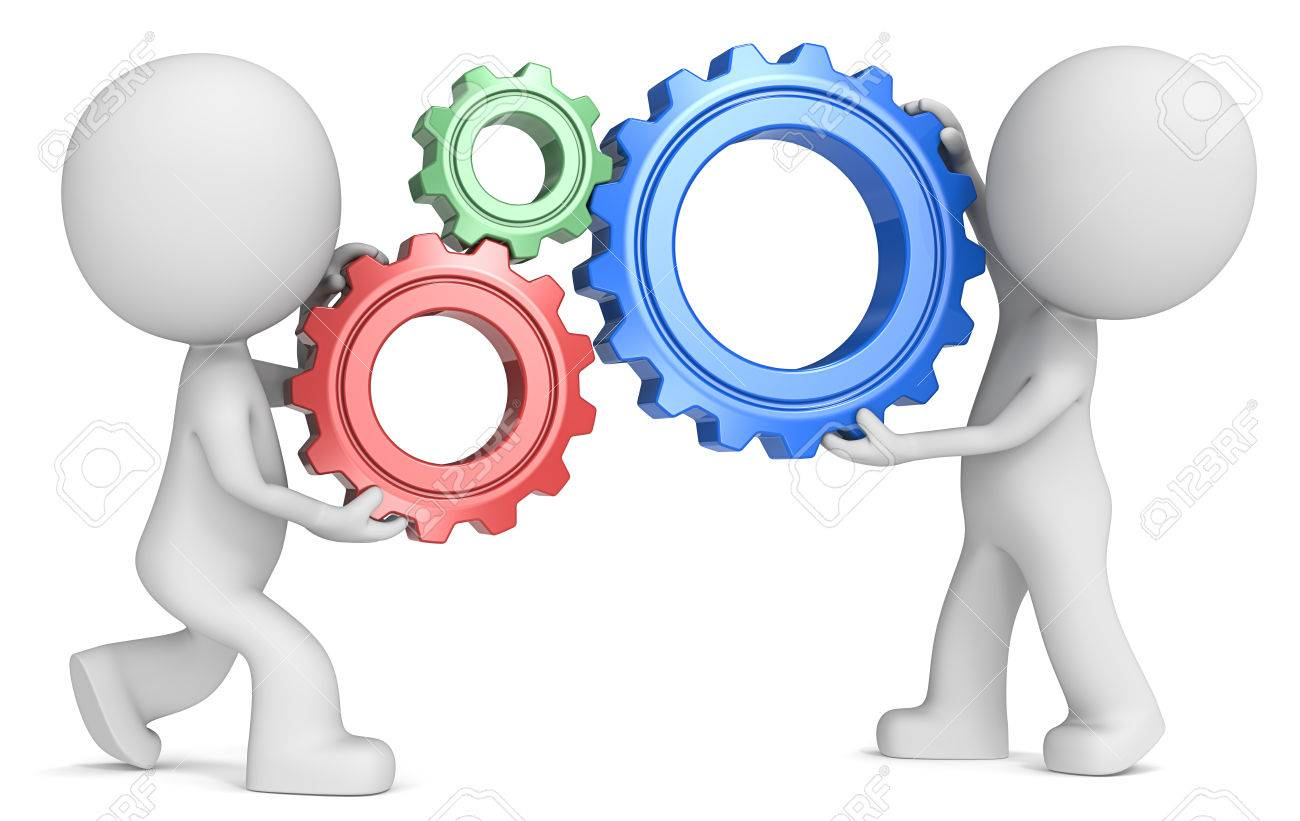 SEO. Dude 3D characters X2 holding Cogwheels. Red, Green and Blue. Side view. - 50336028