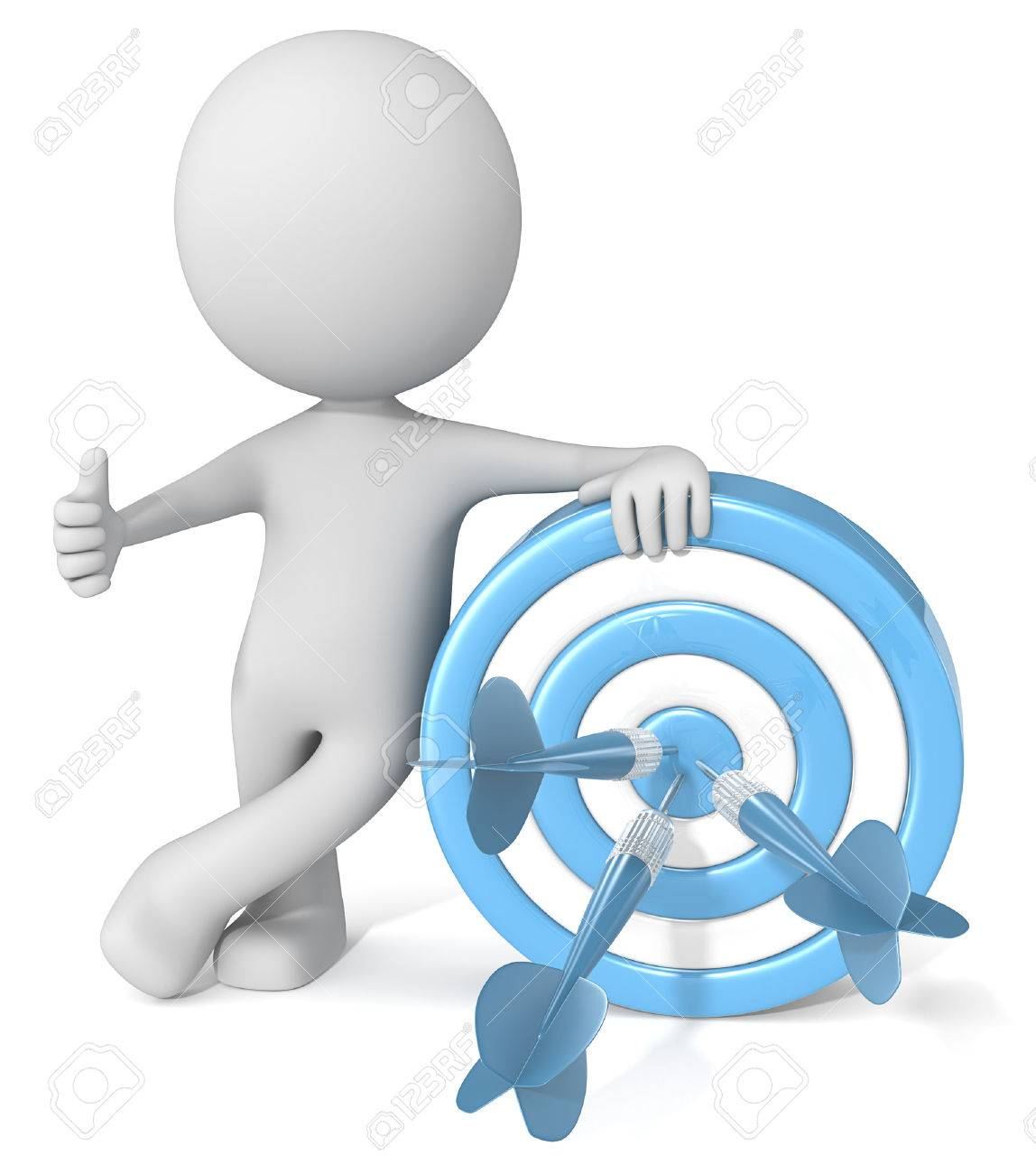 Thumbs up Target. Dude 3D character giving thumbs up holding blue dartboard with blue darts. Standard-Bild - 50396698