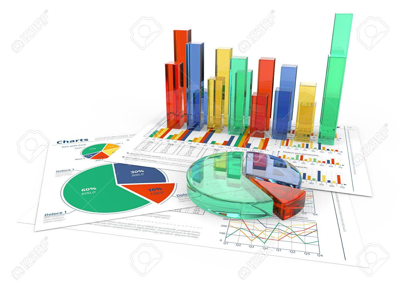 Analyze. Financial documents with colorful 3D graphs and pie charts of glass. - 57252852