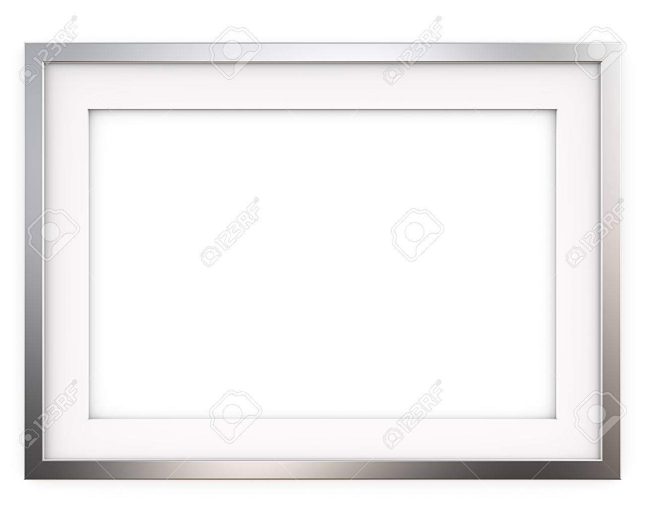 Picture Frame. 3D Render Of Classic Metal Frame With White Passe ...