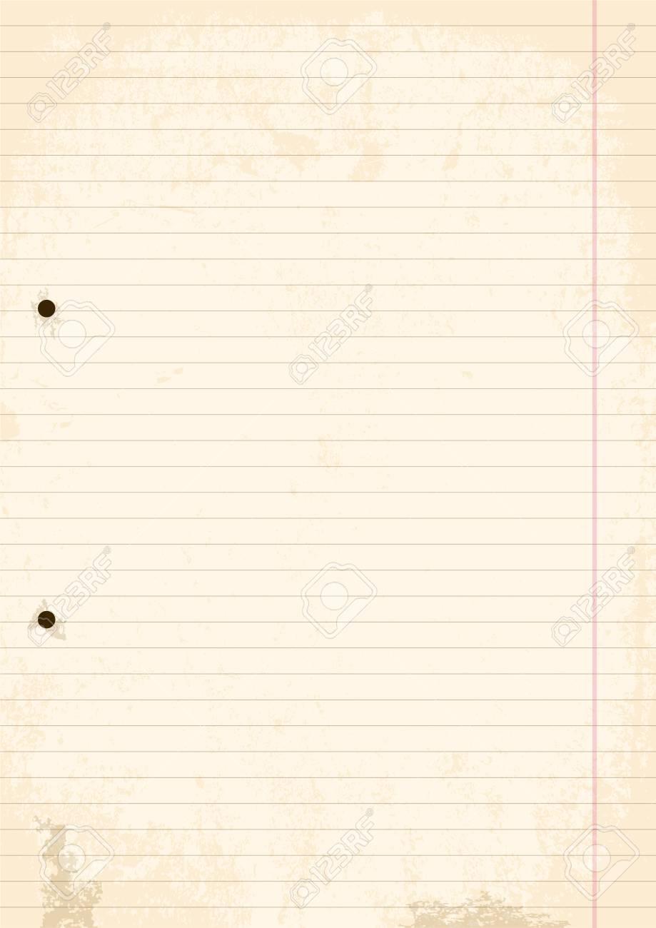 Grunge Blatt Papier Linie. Vektor, Illustration Von A4 Blatt Linie ...