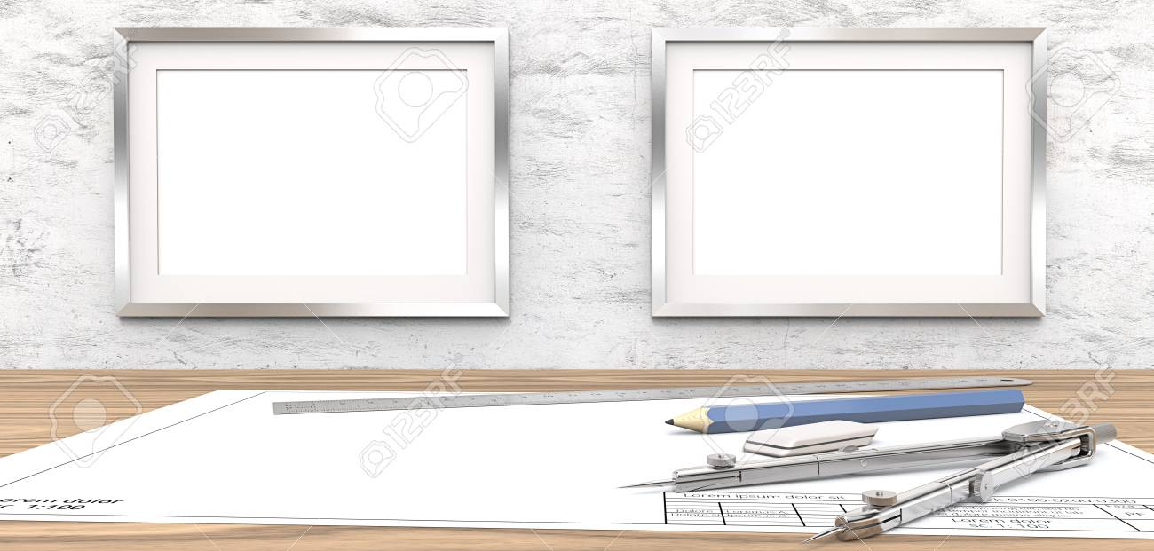 Blank Drawings And Frames For Copy Space. Blank Blueprint On.. Stock ...