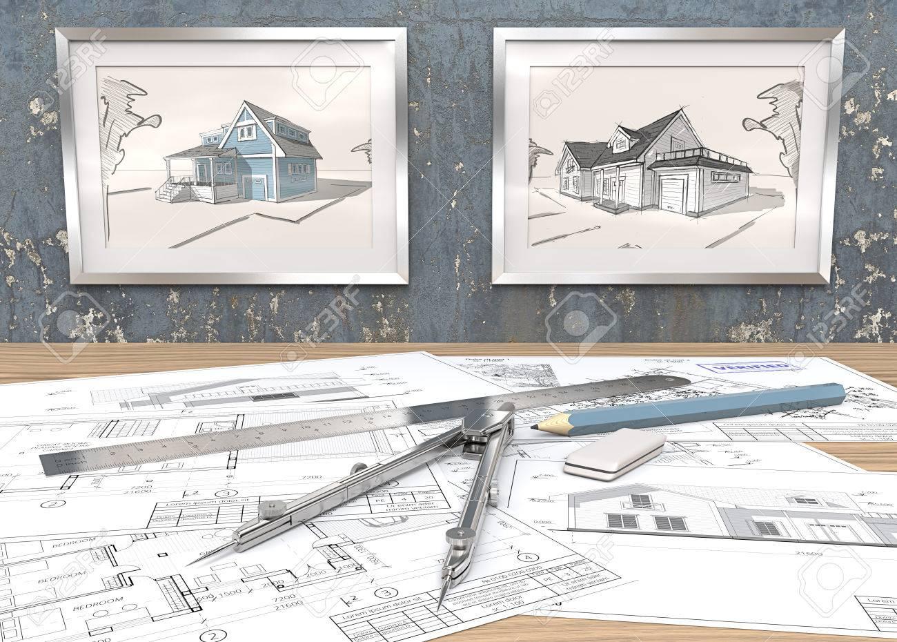 Tema Azul Lugar De Trabajo Del Proyecto De La Casa. 2 Marcos De ...