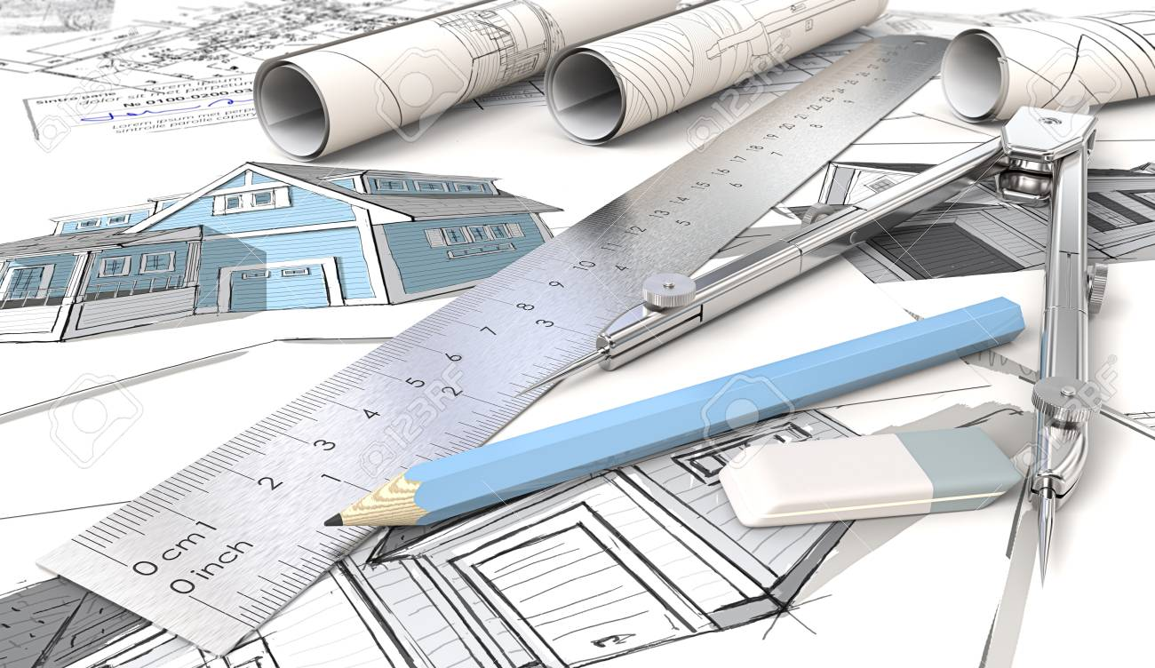 architectural house drawing. House Design Sketches. Blue Theme Architectural Drawings And Rolls, Ruler, Drawing