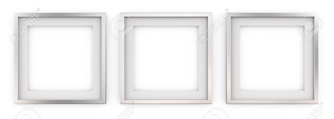 3 Quadratische Bilderrahmen Aus Metall. Reihe Von 3 Quadratischen ...