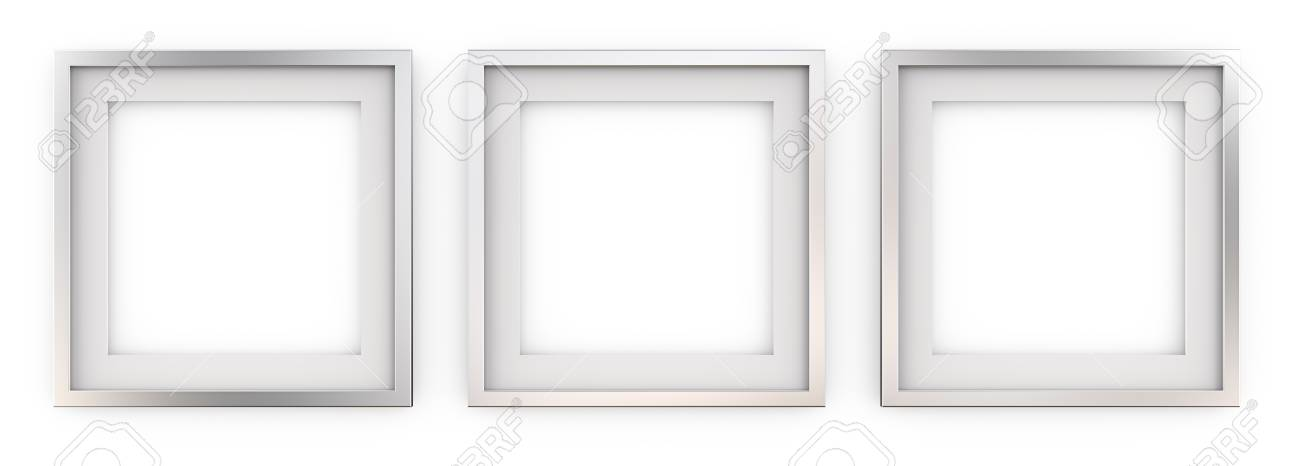 3 Square Picture Frames Of Metal Row Of 3 Square Metal Frames With White Passe
