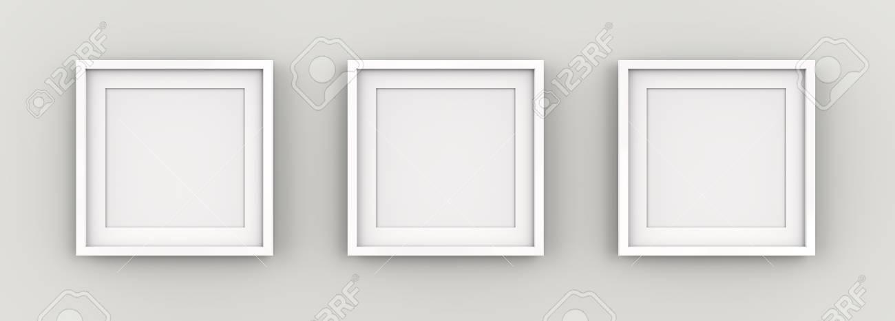 Weiße Bilderrahmen An Der Wand. Reihe Von 3 Quadratischen Weißen ...