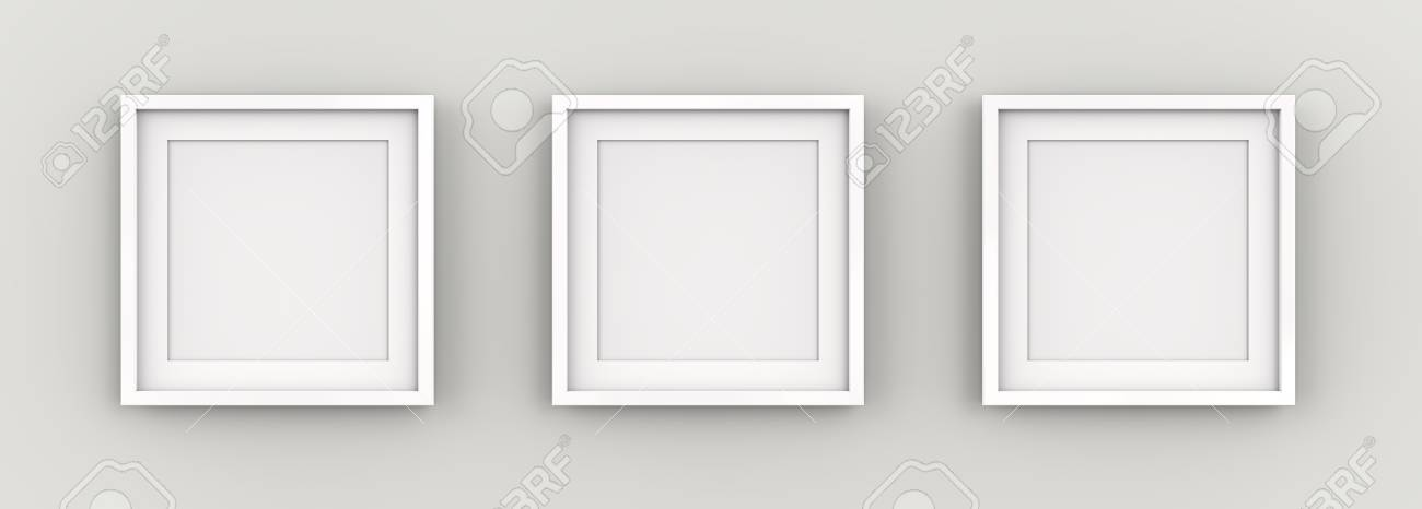 3 picture frames on wall living room stock photo white picture frames on wall row of square wall with white passepartout blank for copy space 3d render on of
