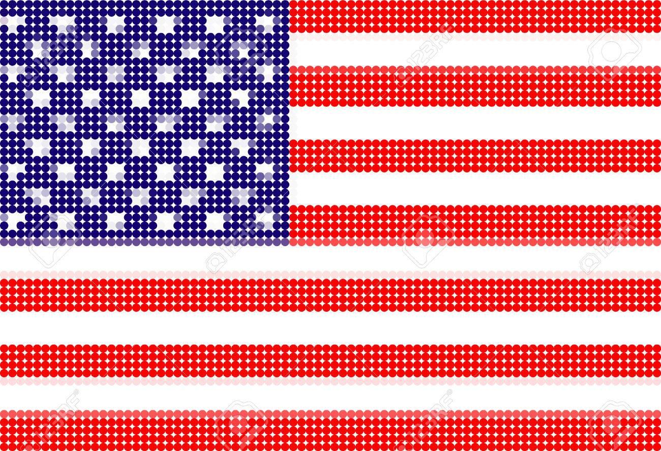 american flag-Pixel series (vector) Stock Vector - 4641328