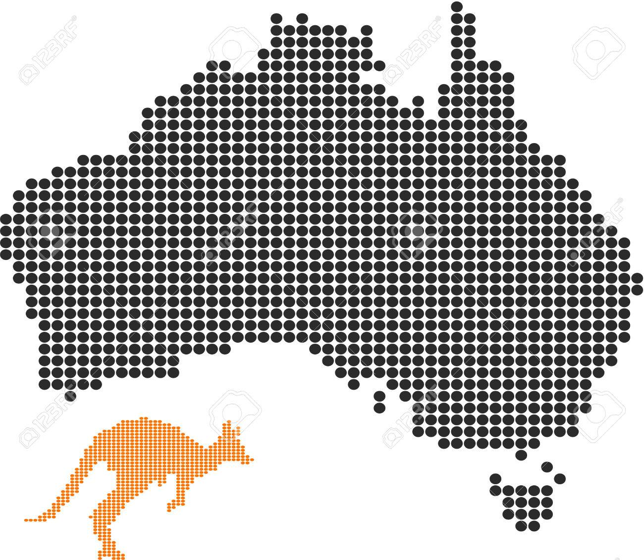 Australia map and the kangaroo-Pixel series (vector) Stock Vector - 4641334