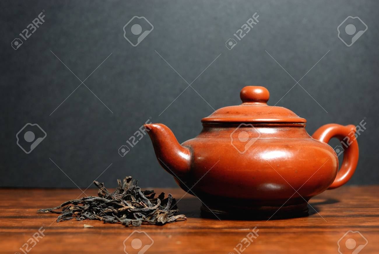 Oriental tea set and Green tea Stock Photo - 4652251