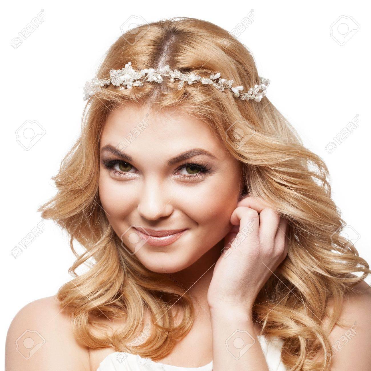 Schone Lachelnde Braut Mit Schonheit Hochzeit Frisur Lizenzfreie