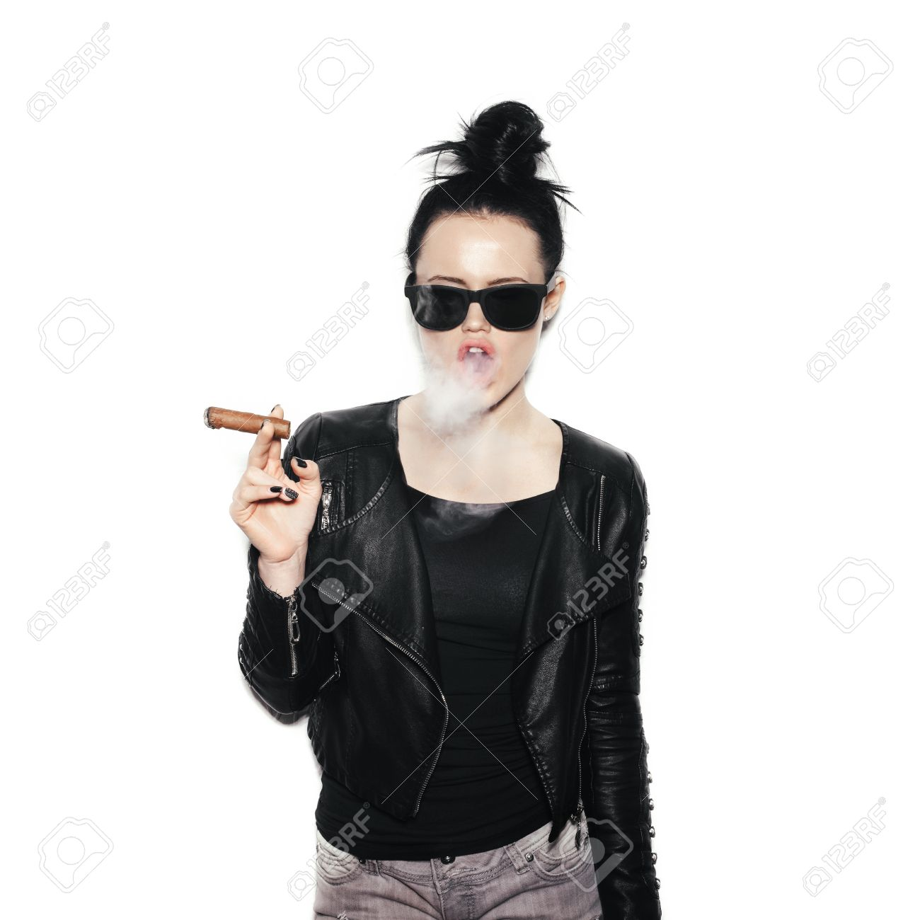 Sexy Woman In Sunglasses Blowing Smoke From A Cigar Swag Style